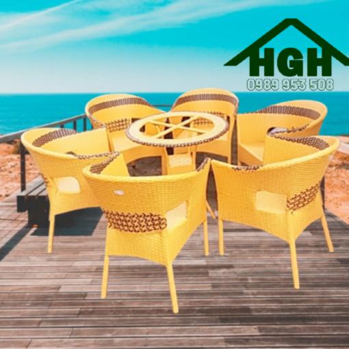 Bàn ghế cafe mây nhựa HGH 25