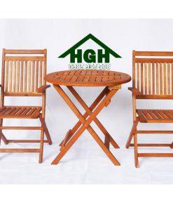 Bàn ghế cafe gỗ chân xếp HGH96