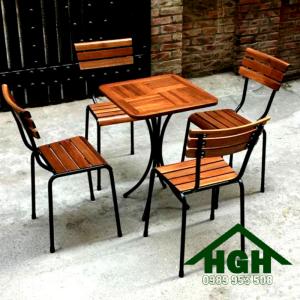 Bàn ghế cafe chân sắt HGH 28