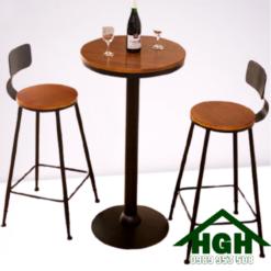 Bàn ghế quầy bar mặt gỗ chân sắt HGH 30