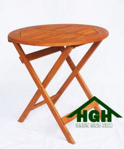 Bàn cafe gỗ tròn chân xếp HGH91