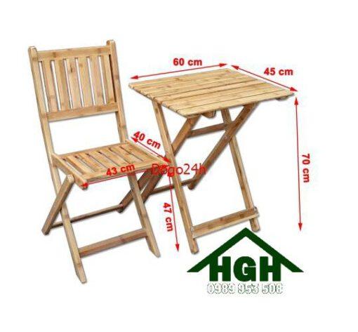 Bàn ghế gỗ cafe chân xếp HGH98