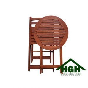 Bàn ghế gỗ cafe chân xếp HGH99