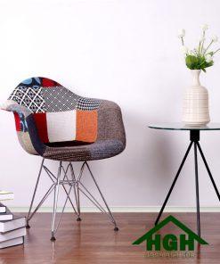 Ghế bọc vải thổ cẩm chân mạ HGH 52
