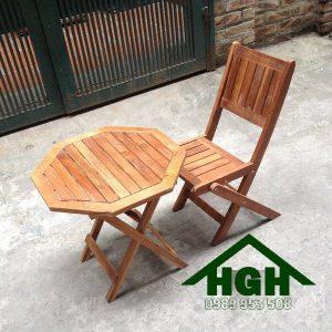 Bàn ghế gỗ cafe chân xếp HGH90