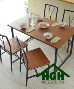 Bàn ghế nhà hàng mặt gỗ chân sắt HGH69