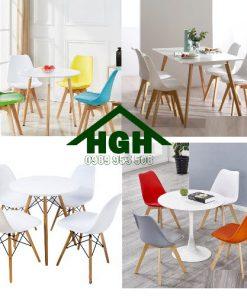 Bàn ghế cafe lưng nhựa chân gỗ HGH73