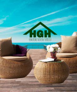 Bàn ghế cafe mây nhựa HGH80