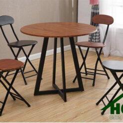 Bàn ghế cafe mặt gỗ chân sắt HGH 54