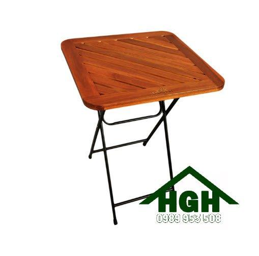 Bàn xếp cafe mặt gỗ chân sắt HGH93