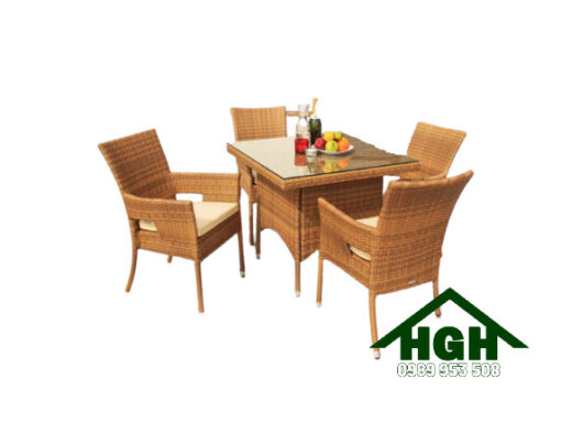 Bàn ghế cafe mây nhựa HGH79